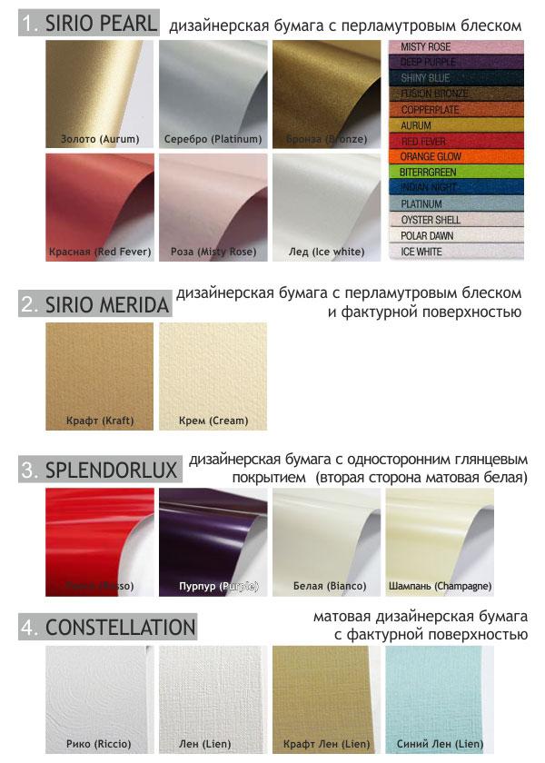 Образцы дизайнерских бумаг используемые нами для изготовления пригласительных на свадьбу